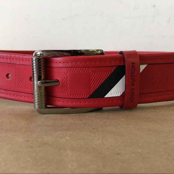 Louis Vuitton Accessories   Red Leather Menss Belt Size 36   Poshmark 42db66a7908